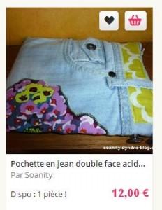 pochette en jean acidulee